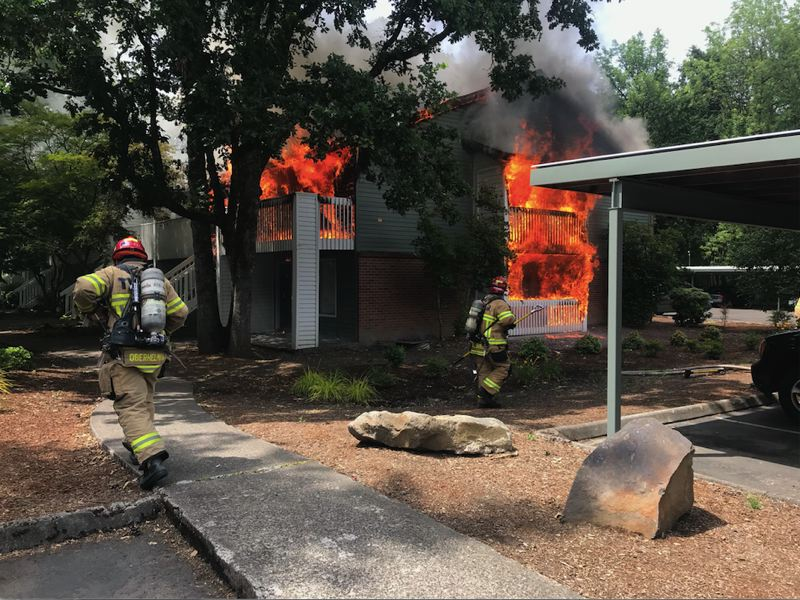 COURTESY PHOTO: TUALATIN VALLEY FIRE & RESCUE - Four apartments were left uninhabitable by a residential fire in Beaverton's Five Oaks/Triple Creek neighborhood on Tuesday, June 22, according to Tualatin Valley Fire & Rescue.