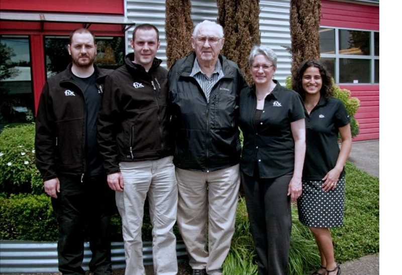 COURTESY PHOTO - Pictured are James Bray, production manager, (from left); William Bray, co-owner; the late Jim Eber; Camille Eber, co-owner; Iala Bray, office manager.