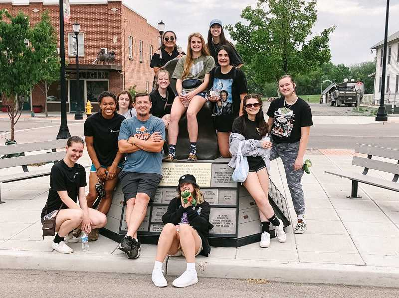 COURTESY PHOTO: JODI HALVERSON - Country Christian's girls basketball team taking in the sights during their visit to Baker City for the 1A state basketball tournament this week.