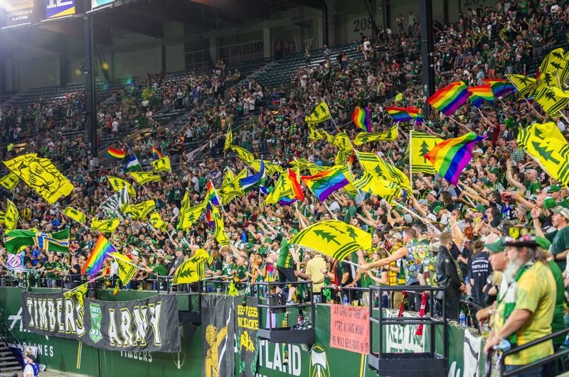 PMG PHOTO: DIEGO G. DIAZ - With capacity at Providence Park increased to 80%, members of the Timbers Army were at their full-throated best during Portlands 2-1 win over Sporting Kansas City on Saturday, June 19.