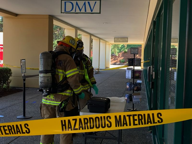 COURTESY PHOTO: LAKE OSWEGO FIRE DEPARTMENT - The Lake Oswego DMV reported a package containing a 'suspicious' substance. The substance was later determined to be sugar.