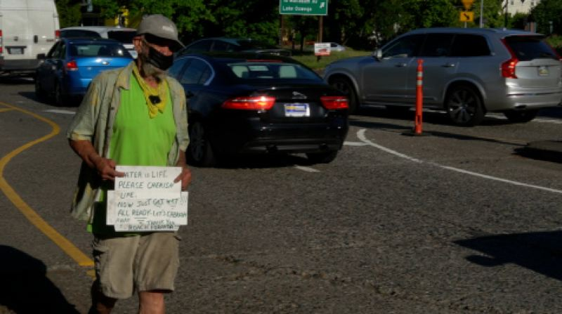 COURTESY KOIN 6 NEWS - Frederick Allen lives in a homeless camp in Southwest Portland. He said he's trying to beat the heat by getting most of his physical activity done in the early hours of the day.