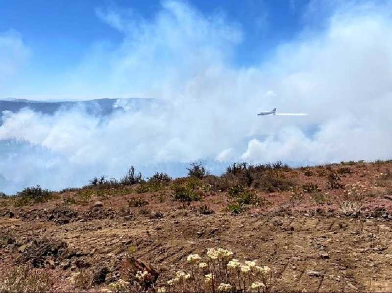 PHOTO BY SHAWN JACA - A plane dumps water on the S-503 Fire in Oregon.