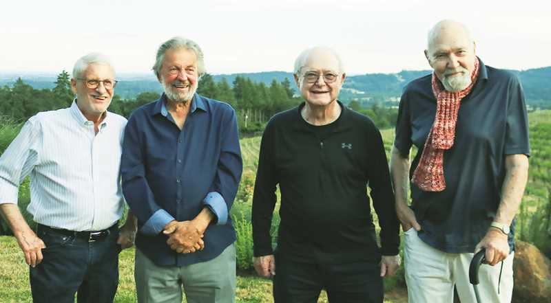 COURTESY PHOTO: ADELSHEIM WINERY - Winery founders (from left) David Adelsheim, Dick Ponzi, Bill Fuller and Dick Erath gather for a photo during the event.