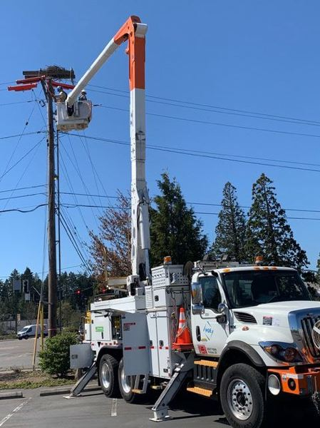 FILE - A Portland General Electric crew works on a power pole.