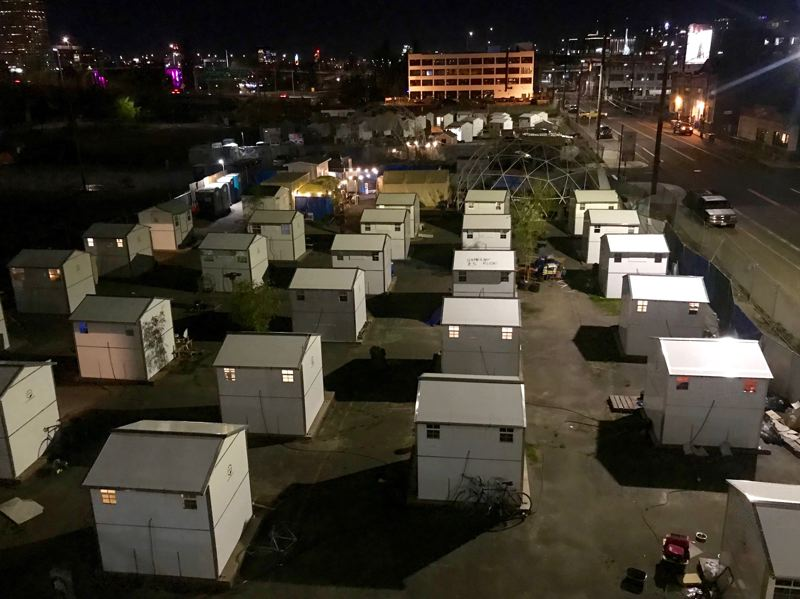PMG PHOTO: ZANE SPARLING - Multnomah County has established two managed outdoor homeless camps along Southeast Water Avenue in the central eastside of Portland.