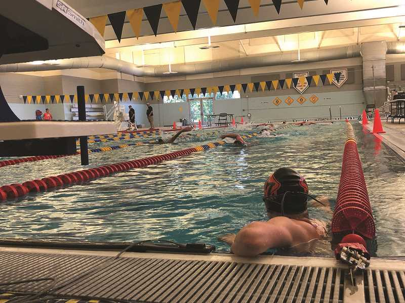 COURTESY PHOTO: MELISSA GEORGESEN - Molalla swim team gets ready for the state meet June 26 in Cottage Grove.