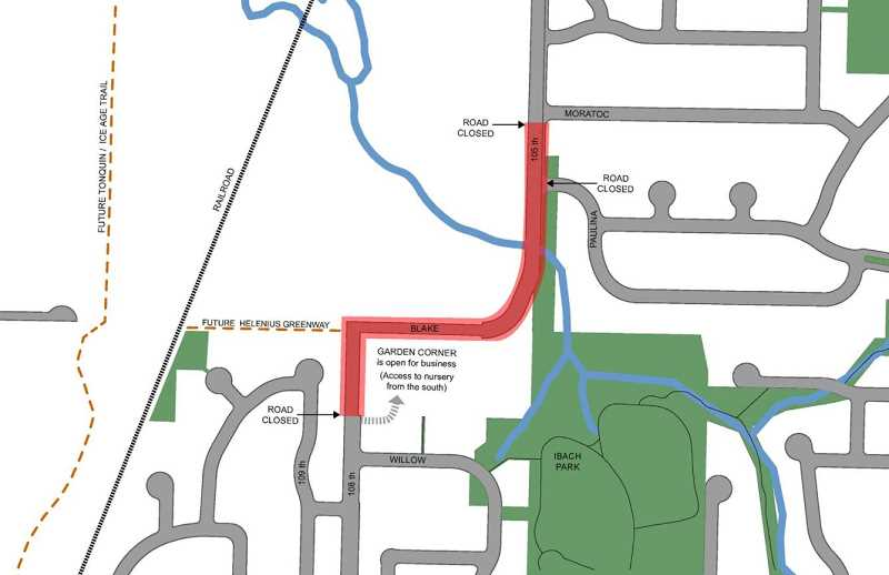 COURTESY PHOTO: CITY OF TUALATIN - Heres a look at the planned closures along Garden Corner Curves during major construction, which is expected to last until October.