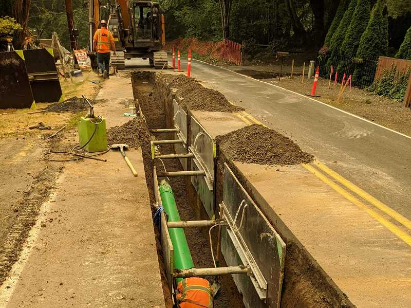 COURTESY PHOTO: CITY OF TUALATIN - Earlier this year, work crews worked on pipe installations along the Garden Corner Curves.