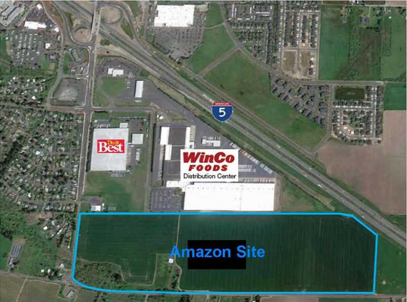 COURTESY PHOTO: CITY OF WOODBURN - Online retail giant Amazon purchased property in west Woodburn with plans to build a fulfillment center. The facility is anticipated to employ more than 1,500 full-time workers.