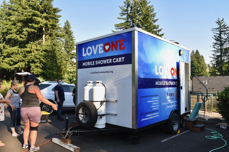 PMG PHOTO: BRITTANY ALLEN - The Love One shower cart will be located at the Community Church of Sandy every second Thursday of the month, starting July 15.
