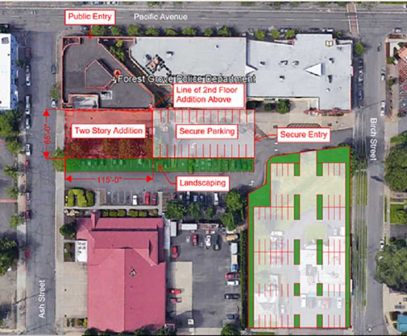 COURTESY PHOTO - The City of Forest Grove is looking at various plans for additional space for the police station, including option 2 of a proposed annex to the existing station (pictured above).
