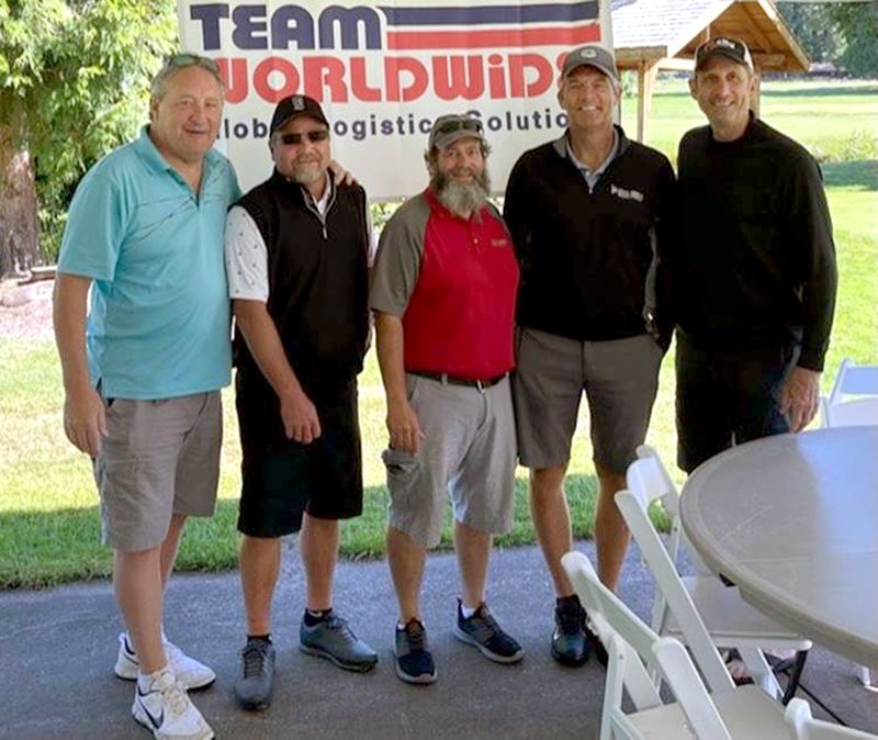 COURTESY PHOTO - Among those who played in the June 19 Mike Nelson Memorial Golf Tournament were (from left) former New York Mets pitcher Tom Gorman, Team Worldwide PDX branch owner Marty Coomler, Team PDX member Ken Rommel, former San Francisco 49ers linebacker Mike Walter and former Portland TrailBlazers forward Bob Gross.