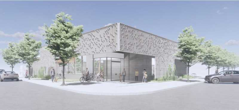 RENDERING COURTESY: CLACKAMAS COUNTY - Architectural renderings for Gladstone's new library seen as 'institutional' will be softened as designs are refined.