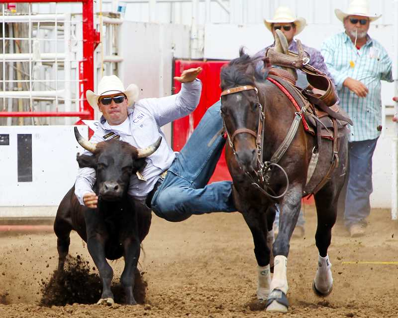COURTESY PHOTO: HOOT CREEK - Baker City steer wrestler Jesse Brown is having the best year of his young rodeo career after finishing 13th in the PRCA world standings last year.