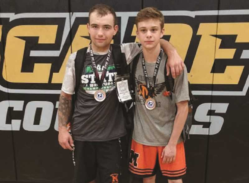 COURTESY PHOTO: NATHAN SMYTH - Molalla wrestlers Max Salvetti and Colby Findley each placed at this year's 4A state wrestling tournament.