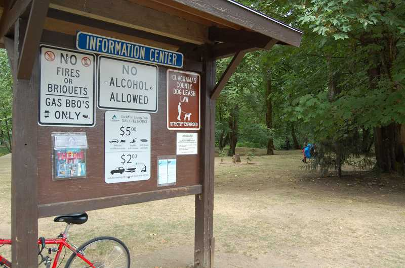 PMG FILE PHOTO: RAYMOND RENDLEMAN - Posted rules, seen here at Carver Park, were in place before Clackamas County commissioners enacted rules allowing for alcohol searches in 2013.