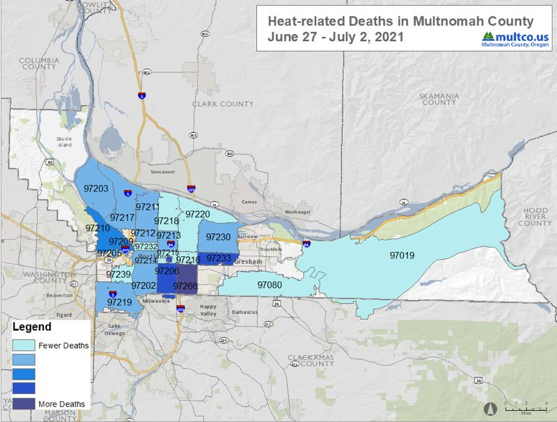 COURTESY MULTNOMAH COUNTY - A map of heat deaths in Multnomah County as of July 3.