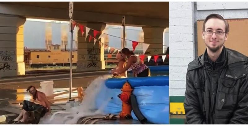PHOTOS VIA KOIN / MORLOCK FAMILY - Tyson Morlock plays in a pop-up swimming pool, left, and is pictured in a family photo.