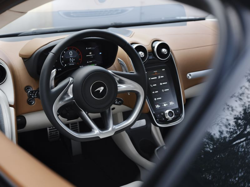 COURTESY MCLAREN - The dash of the 2020 McLaren GT is both futuristic and functional, with an easy to operate advance infotainment system.