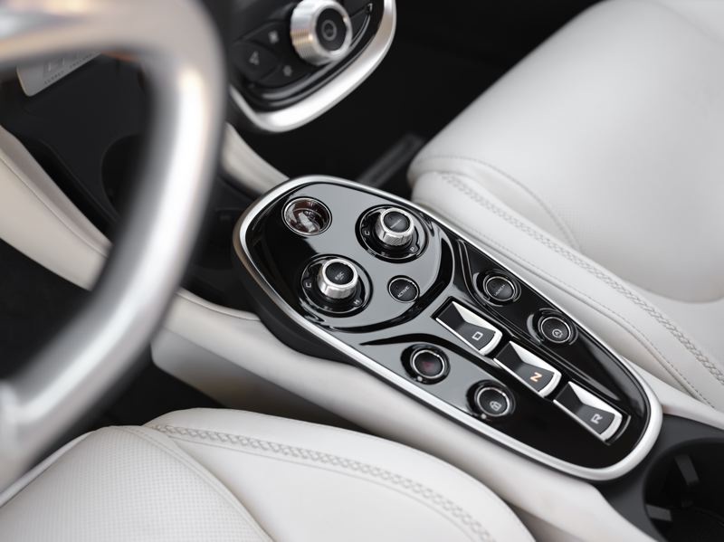 COURTESY MCLAREN - The seven-speed dual-clutch automatic in the 2020 McLaren GT is operated through the center console, with also includes the knobs for setting the drive modes.