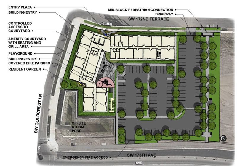 COURTESY MAP: OTAK - A site schematic of BRIDGE Housing's Goldcrest apartment complex in Beaverton shows how the development will fit into the South Cooper Mountain neighborhood near Mountainside High School.
