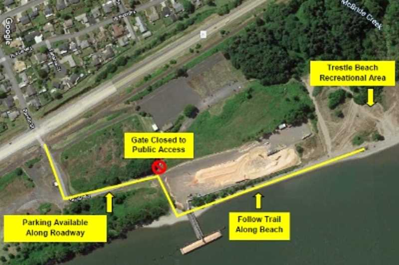 COURTESY PHOTO: PORT OF COLUMBIA COUNTY - Parking for the Trestle Beach Recreation Area is located off Highway 30, but visitors have to walk along the beach to make it to the recreation area.