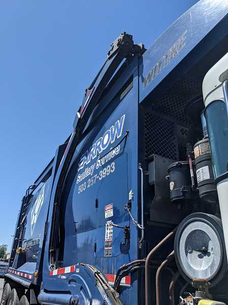 PMG: JOSEPH GALLIVAN  - A garbage truck at Arrow Sanitary Service. Much of the Waste and Recycling Driver Training course was learning about safety, pre-trip checks and how to handle air brakes.