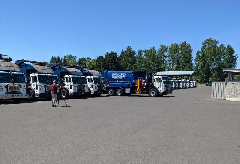 PMG: JOSEPH GALLIVAN  - Garbage trucks at Arrow Sanitary Service. Much of the Waste and Recycling Driver Training course was learning about safety, pre-trip checks and how to handle air brakes.