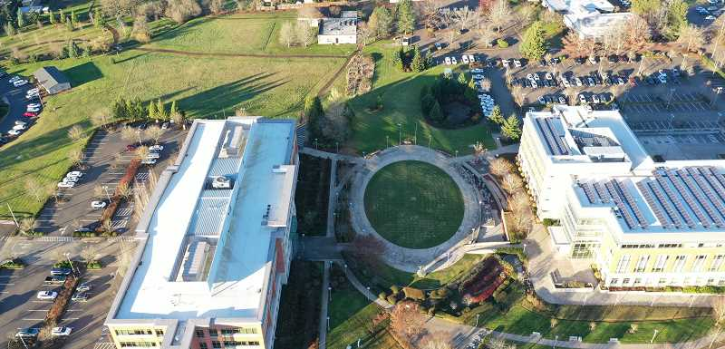 COURTESY PHOTO - This aerial shot shows the section of Clackamas County's Red Soils Campus (between two existing buildings, top) where the new courthouse will be built.