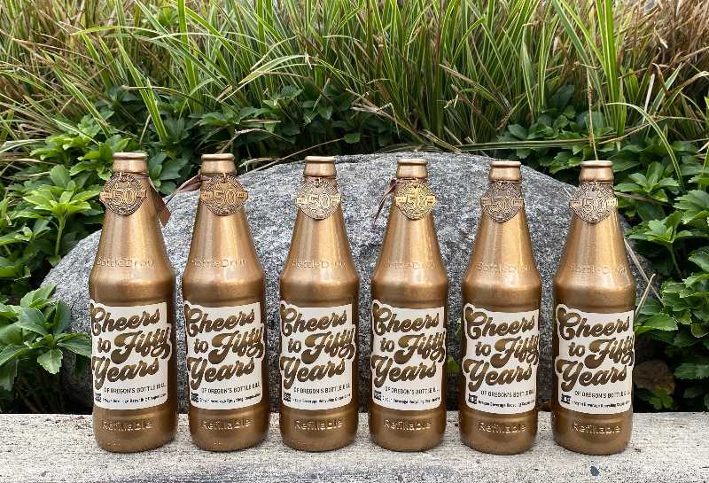 COURTESY OREGON BEVERAGE RECYCLING COOPERATIVE  - I golden bottle in each of Oregon's six zones is stashed and awaiting someone to find it.