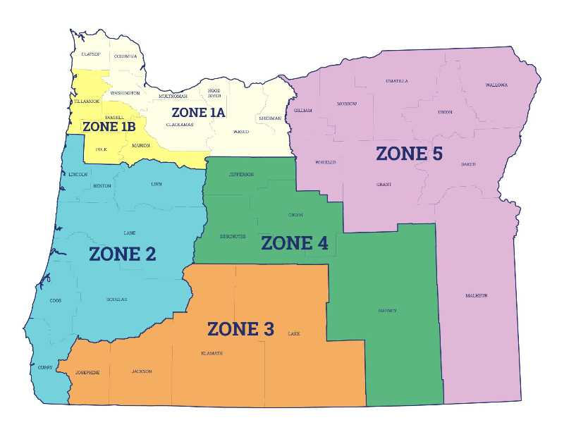 COURTESY OREGON BEVERAGE RECYCLING COOPERATIVE  - Map shows the zones for the treasure hunt for the golden bottles; one bottle in each zone. Finders will have the opportunity to help out a nonprofit.