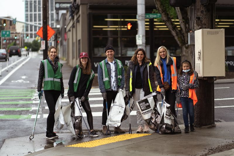 PHOTO COURTESY: WINDERMERE REAL ESTATE - Brokers with Windermere Real Estate's Portland Heights office took to the streets in June to clean up around the west side of the city on behalf of SOLVE.