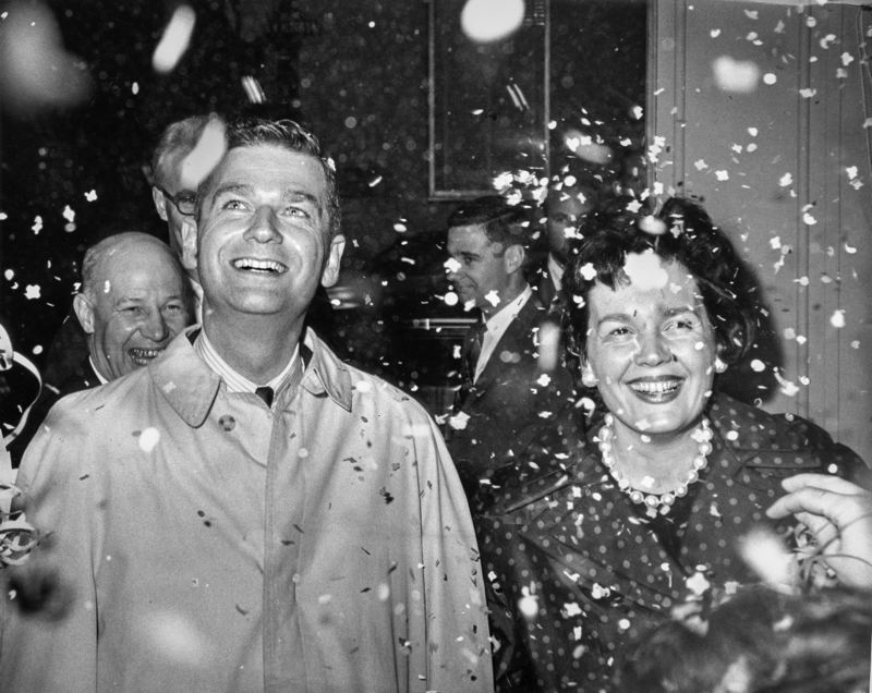 COURTRESY PHOTO: OHS RESEARCH LIBRARY - The late Mark Hatfield and his wife Antoinette celebrate at his campaign headquarters after winning race for Oregon governor on Nov 7. 1962.