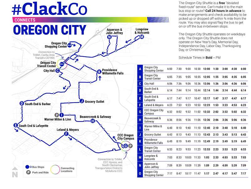 COURTESY GRAPHIC: CLACKAMAS COUNTY - This map shows the route of the shuttle through Oregon City.