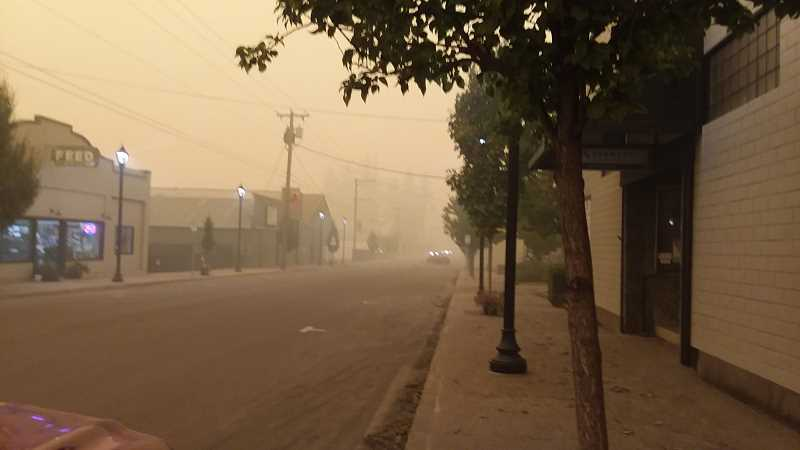 PMG PHOTO: SANDY STOREY - Molalla was practically vacant during the week of Sept. 7, as seen in this view of Molalla Avenue, due to the Clackamas County wildfires raging in the area.