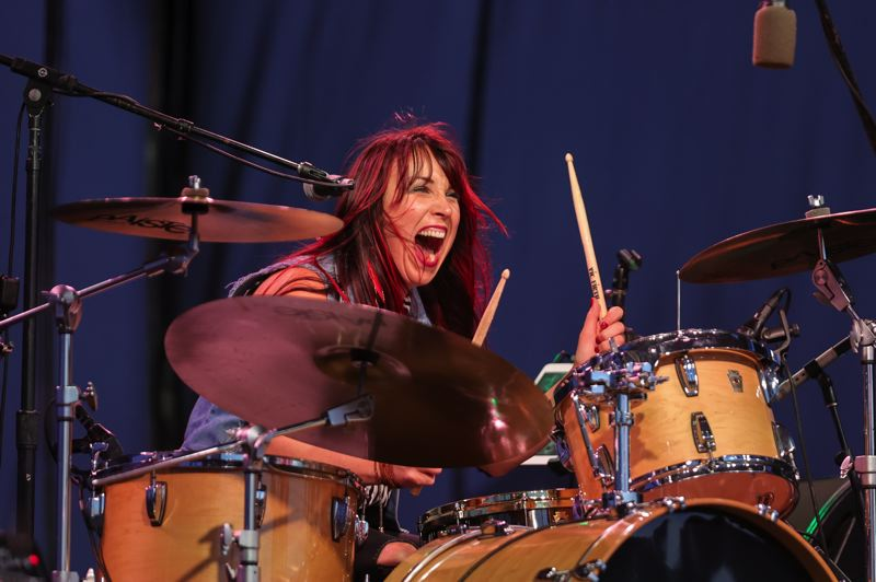PMG PHOTO: JONATHAN VILLAGOMEZ - Live music has made its way back to Portland, including at the Waterfront Blues Festival, where Sarah Tomek, drummer for Samantha Fish, rocked out July 2.