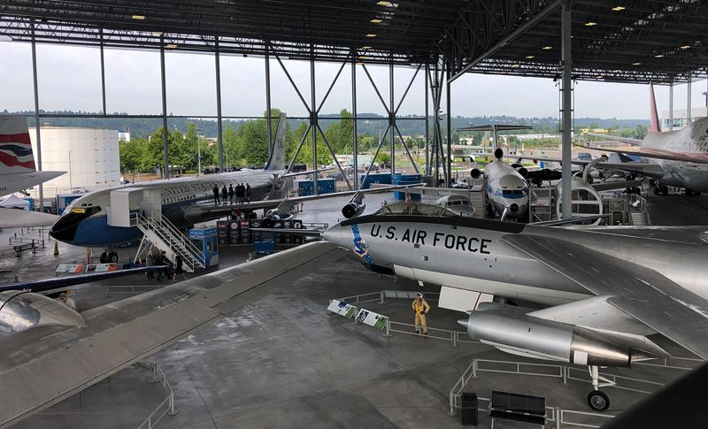COURTESY PHOTO - An old Air Force One (left) sits among classic planes at the Museum of Flight in Seattle. A detailing crew, including Portland's Greg Pagh, will work on the plane July 11-18.
