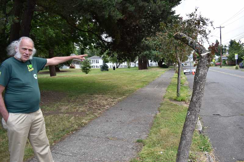 PMG PHOTO: RAYMOND RENDLEMAN - Former Oregon City Mayor Doug Neeley personally made a $10 donation for each of the Friends of Trees plantings of prairie-fire crabapples at Barclay Park, one of which was topped by a city contractor on June 3.