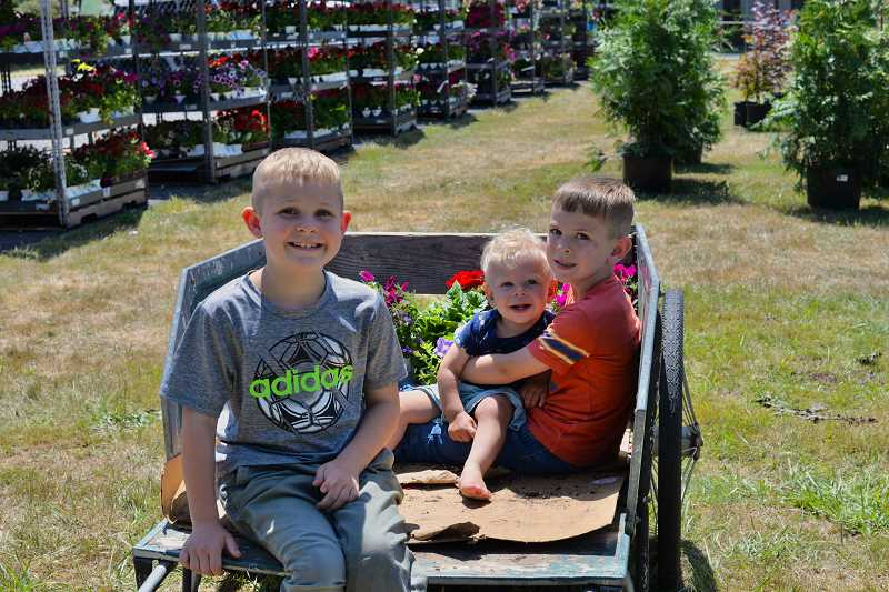 PMG PHOTO: ANNA DEL SAVIO - Ryder, Wyatt and Bennett Boyko share a wagon ride with flowers at the annual plant sale at the Columbia County Fairgrounds.