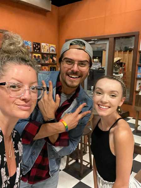 COURTESY PHOTO: BROADWAY ROSE THEATRE CO. - Jessica Brandes, Alec Cameron Lugo and Molly Duddlesten in rehearse for their upcoming performance of Analog & Vinyl at the Broadway Rose Theatre Co.