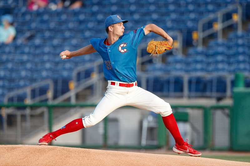 COURTESY PHOTO - Former Jesuit standout and 2020 first round pick Mick Abel throws a pitch during a game with the Clearwater Threshers. Abel is right on schedule during his first professional season.