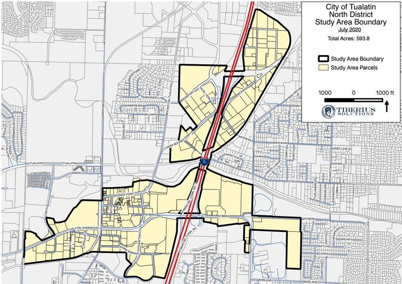 COURTESY MAP: CITY OF TUALATIN - A map shows, shaded in yellow, the study area in Tualatin where city officials are considering the potential of urban renewal.