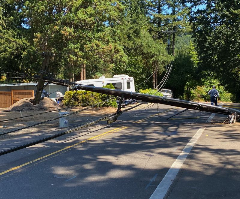 COURTESY PHOTO: LAKE OSWEGO POLICE DEPARTMENT - Just before 11 a.m. Sunday, July 11, a Lake Oswego male in his 20s crashed his 2004 Ford Ranger into a power pole on Upper Drive between Twin Fir Road and Fir Grove Court.