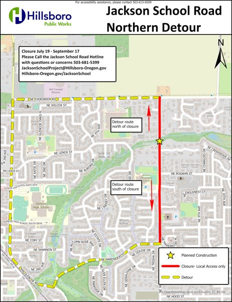 COURTESY MAP: CITY OF HILLSBORO - A map shows an upcoming closure of a segment of Northeast Jackson School Road in Hillsboro for construction.