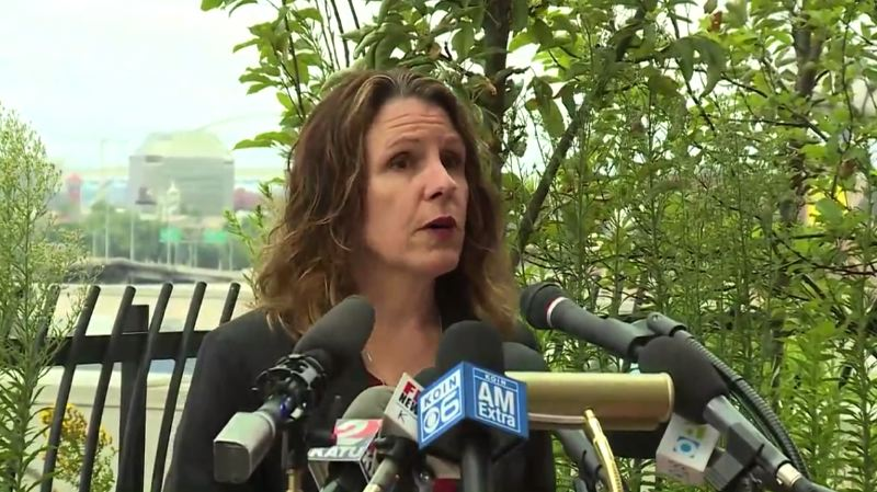 COURTESY KOIN 6 NEWS - Multnomah County Chair Deborah Kafoury spoke to reporters and answered question during a Tuesday morning press conference on the late June heat wave.