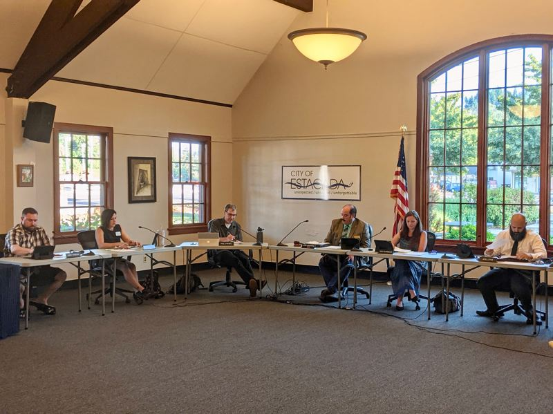 PMG PHOTO: EMILY LINDSTRAND - On Monday, July 12, Estacada City Councilors met in-person for the first time since the start of the COVID-19 pandemic.