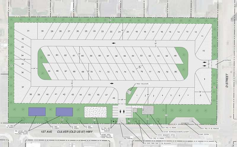 SUBMITTED IMAGE - Ridge Development proposes an 80-space RV park in downtown Culver. Some residents object to drawing transient population to town.