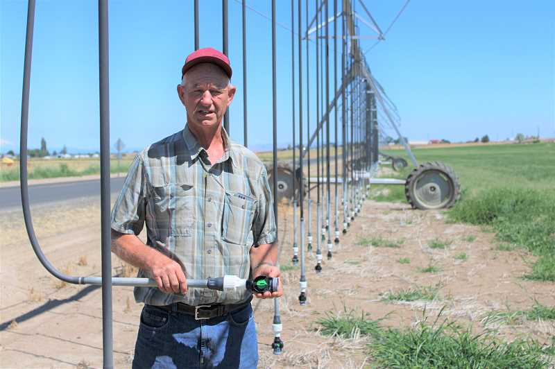 PAT KRUIS/MADRAS PIONEER  - Jeff Whitaker converted from wheel lines and hand lines to a pivot system that delivers water 1 foot above the ground. He says it saves water and prevents brown leaf. He gets higher yields and better prices for his grasses.
