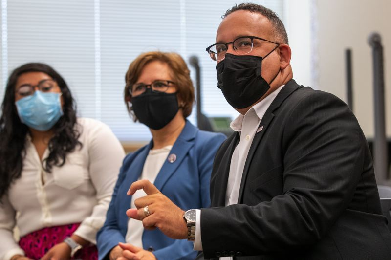 PMG PHOTO: JAIME VALDEZ - U.S. Secretary of Education Miguel Cardona and Rep. Suzanne Bonamici toured Witch Hazel Elementary School in Hillsboro, where funding from the federal American Rescue Plan is supporting expanded summer school programs.